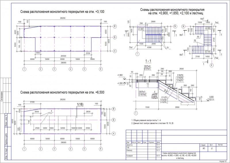 Схема бетонной лестничной установки