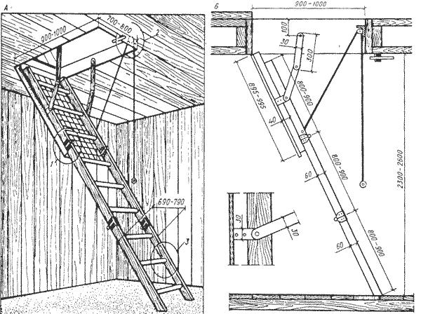 Чердачная складная лестница из дерева