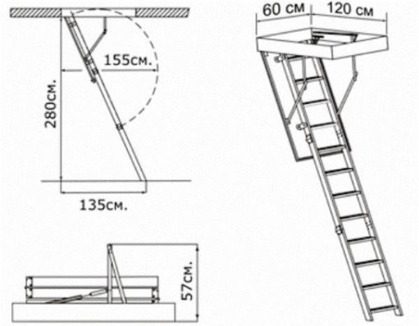 Монтаж сборной чердачной лестницы