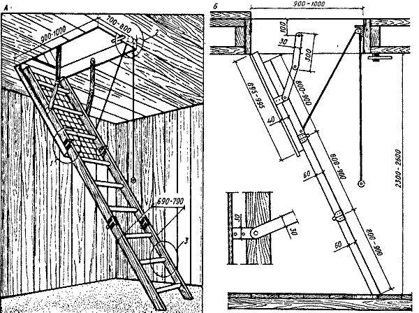 Трансформируемая лестница для мансарды