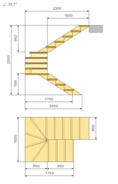 Схема лестницы с поворотом ступеней на 180 градусов