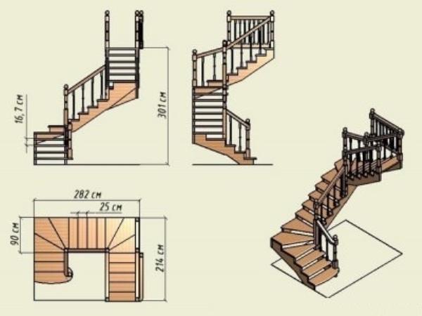 Лестница между первым и вторым этажом