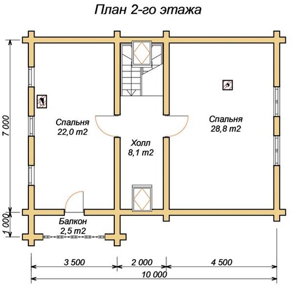 Планировка этажа с указанием лестничного марша