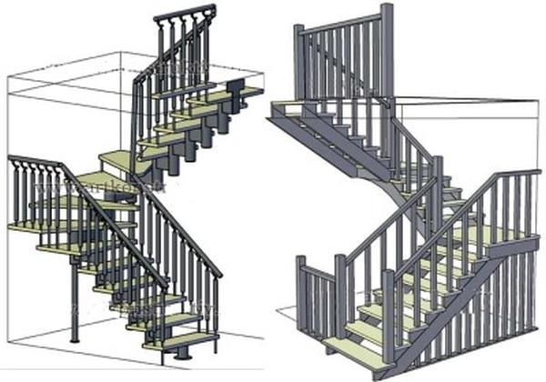 Чертеж конструкций с забежными ступеньками или с площадками