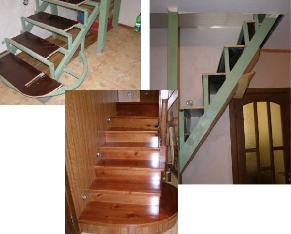 Железные ступени с деревянным наполнением