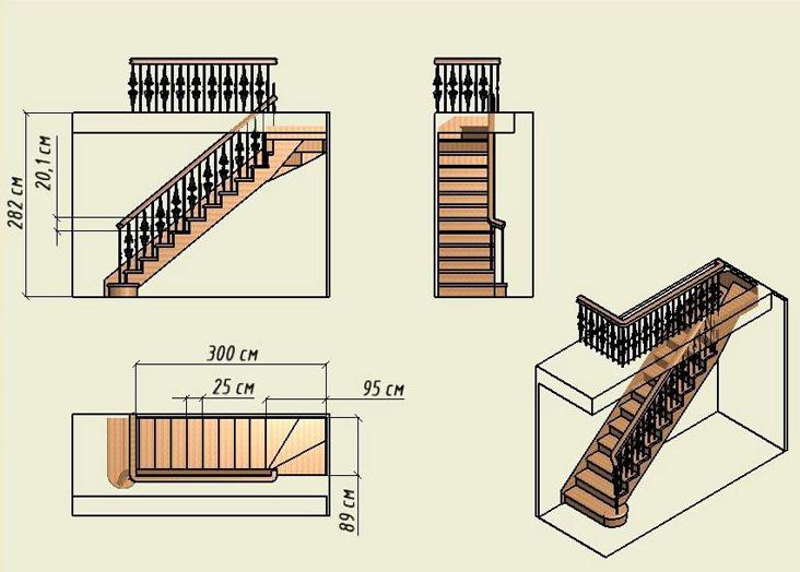 Чертеж одномаршевой мансардной лестницы