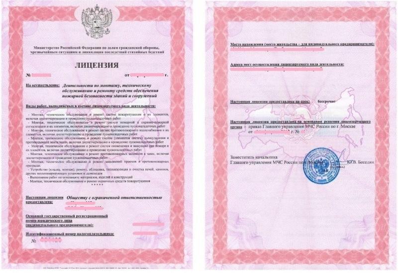 Пример лицензии на изготовление и проверку лестниц