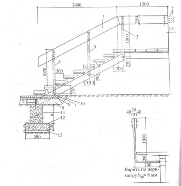 Чертеж для создания входной лестницы из металла