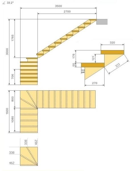 Чертеж с забежными ступенями и поворотом на 90 оС