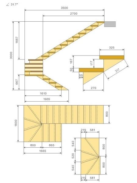 Чертеж с забежными ступенями и поворотом на 180 оС