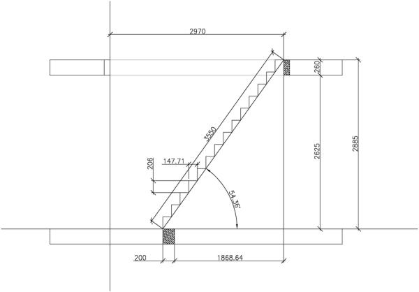 Лестница из профиля для установки внутри здания