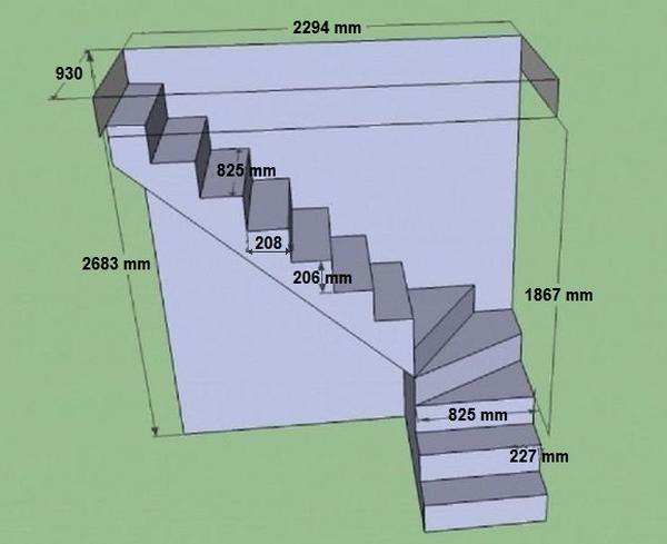 Лестница с забежными ступенями на второй этаж
