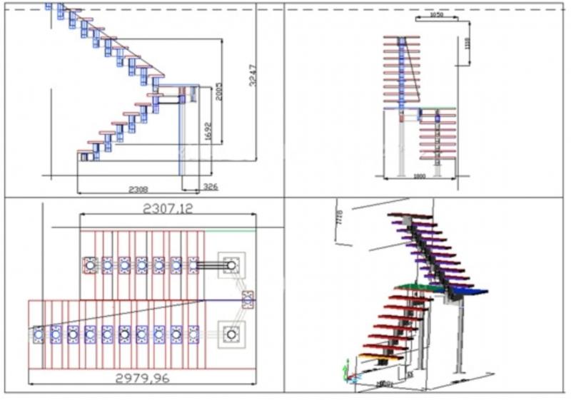 Модульный вариант исполнения лестницы