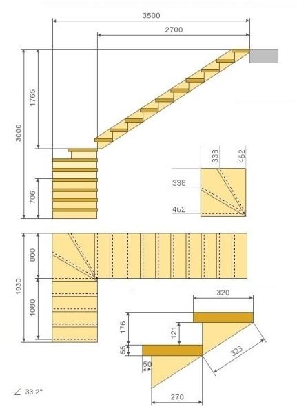 Чертеж лестницы с поворотом ступеней