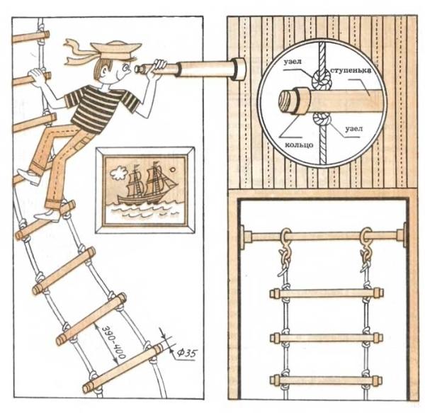 Изготовление веревочной лестницы своими руками