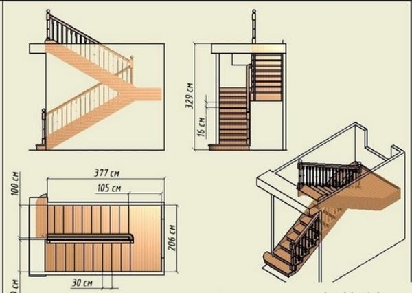Лестничная конструкция с площадкой
