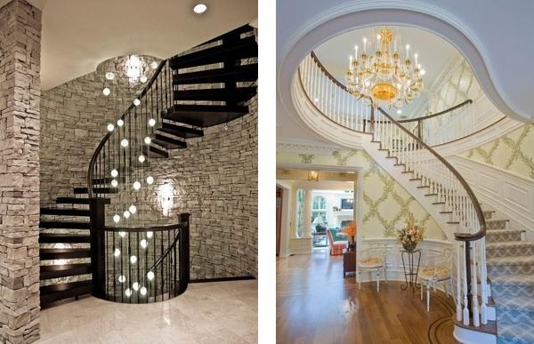Осветительное оборудование на лестнице