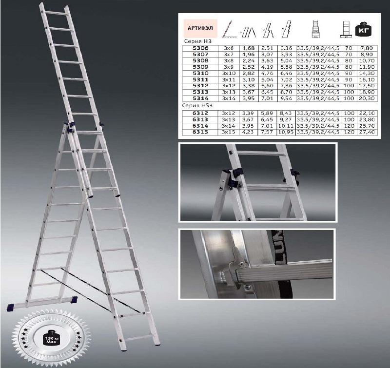 Характеристики трехсекционной лестницы Алюмет