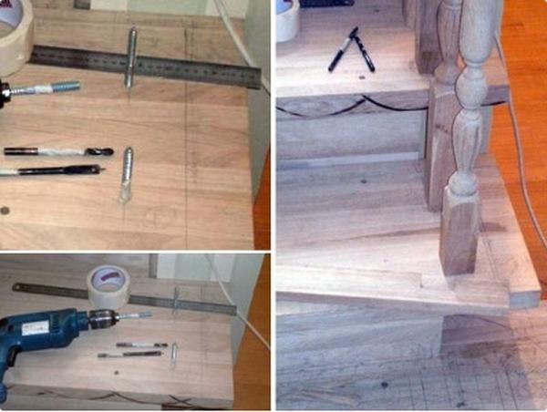 Процесс разметки и монтажа балясин с поручнями и столбами
