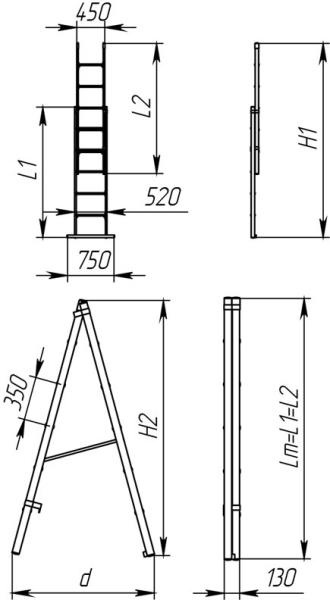 Садовый инструмент в виде лестницы из массива