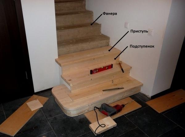 Декорирование лестницы из бетона сосновыми планками
