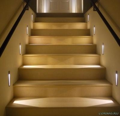 Встроенные в стену двух сторон светильники