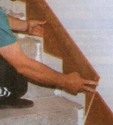 Декорирование бетонированных ступенек древесным массивом