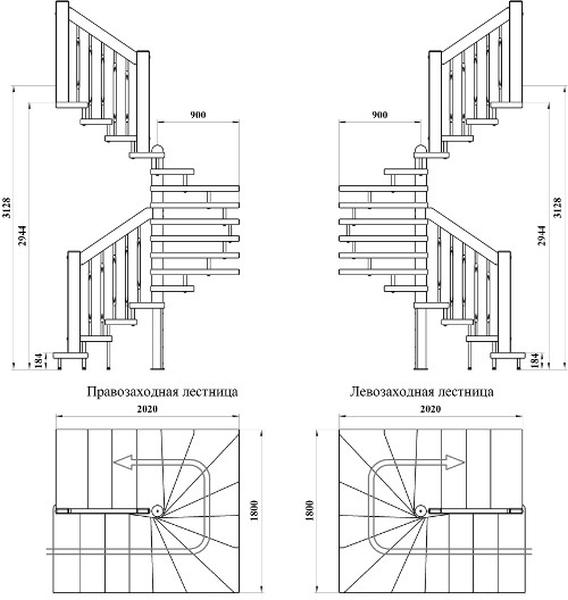 Лестница поворотного типа