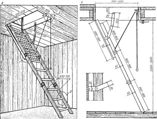 Раздвижная чердачная лестница
