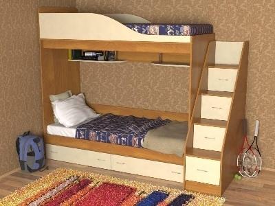 Двухъярусная кровать с лестницей и ящиками