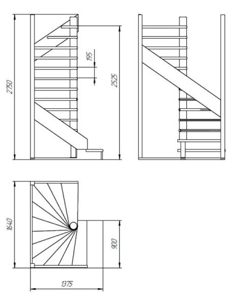 Пример чертежа лестницы в двух проекциях с указанием основных размеров