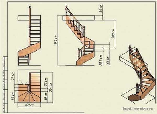 Проект деревянной винтовой лестницы
