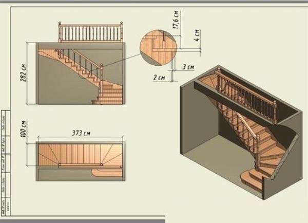 Пример чертежа лестницы на косоурах