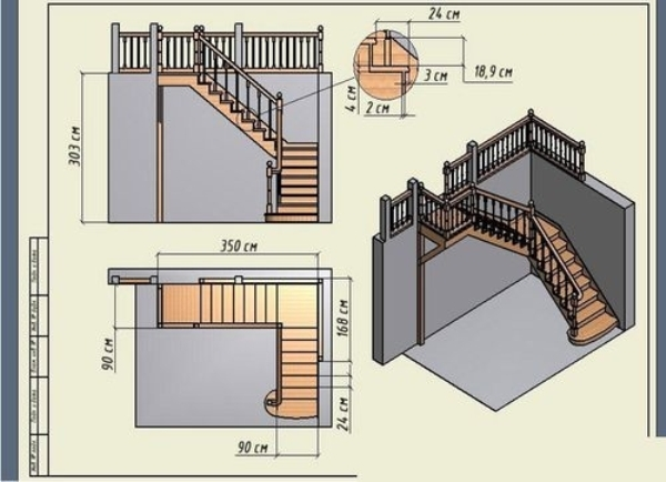 Пример чертежа полувинтовой лестницы