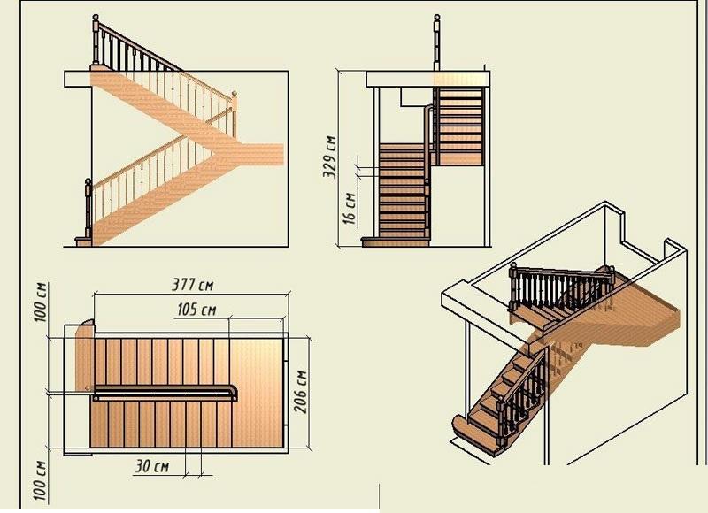 Проект лестницы из двух маршей