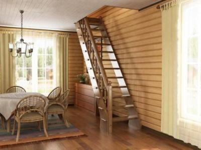 Самодельная лестница на тетивах в доме