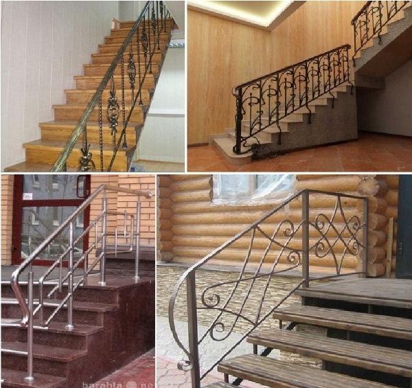 Ограждения из металла на лестницах из различных материалова