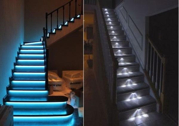 Бетонные лестницы с подсветкой ступеней