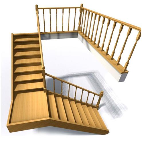 Поворотные ступени с промежуточным участком