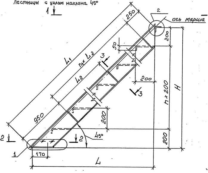 Расчет лестницы с углом наклона 45º
