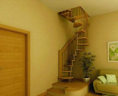 Спиральная лестница не отнимает много пространства, но опасна для детей
