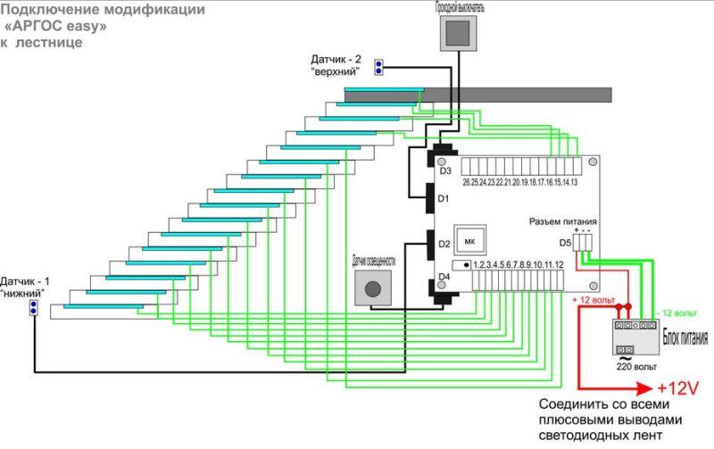 Схема подключения одного из видов подсветки