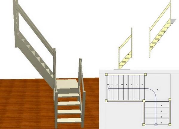 Лестничное сооружение поворотного типа с площадкой