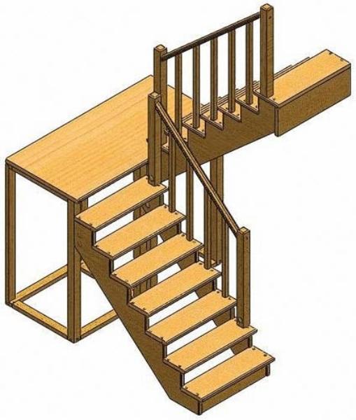 Лестничная установка поворотного типа с площадкой