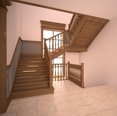Лестничная конструкция на 90 гр