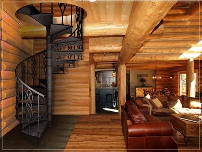 Спиральная лестничная конструкция в интерьере загородного дома