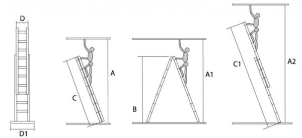 Двухсекционное лестничное сооружение профессионального назначения