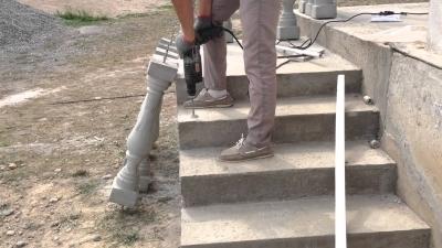 Бетонная лестничная установка