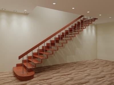 Прямомаршевая лестница с кованными балясинами
