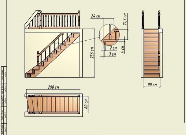 Схема лестницы с прямым маршем